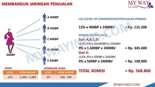 Bonus Selisih Level MarketingPlan My Way Indonesia Bisnis Rumahan